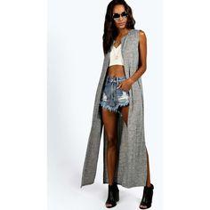 Boohoo Ada Sleeveless Maxi Cardigan ($14) ❤ liked on Polyvore featuring tops, cardigans, no sleeve cardigan, maxi top, maxi cardigan, sleeveless cardigan and sleeveless tops