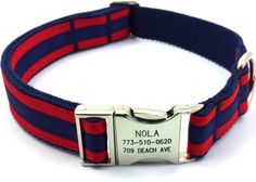 Layered Stripe Dog Collar Personalized Customized Engraved Name Buckle Navy/ Red by artisanwork on Etsy https://www.etsy.com/listing/217536875/layered-stripe-dog-collar-personalized
