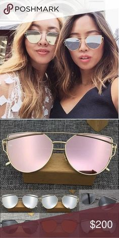 Just in! Mirrored Cat Eye Aviator Sunglasses Protect your eyes with this gorgeous trendy cat eye mirrored sunglasses. Unbranded. 1 for $20 or 2 for $30. Available in rose gold and blue lens.rose gold have a gold frame and the blue lens have a silver frame. Accessories Sunglasses