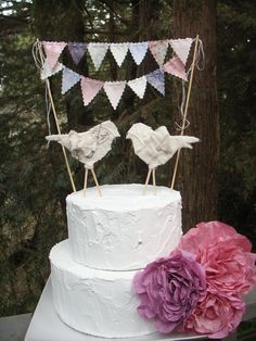 Wedding Cake Bunting  Lavender Pale Grey Peach Ivory by BooBahBlue, $20.00