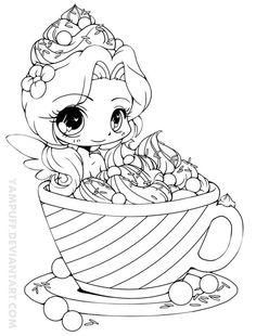Fada tomando banho de sorvete para colorir