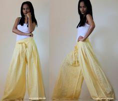 Light Yellow Wide Leg Pants Cotton Linen Casual