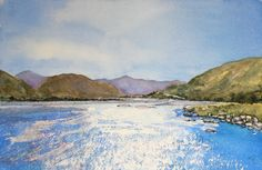 """Waimakariri (""""Cold Water"""" in Maori) River, NZ. Watercolour, Paintings, Cold, River, Mountains, Landscape, Nature, Outdoor, Inspiration"""