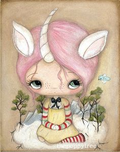 Unicorn Art Print Pink Girl On A Forest Cloud Wall by thepoppytree, $18.00