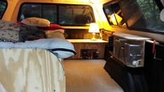 Adventure truck with solar powered battery bank nightstand