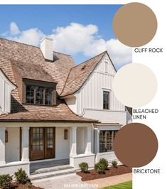 Modern Farmhouse Style Exterior Paint Colors - - Paint your home's exterior with confidance with these modern farmhouse exterior paint color combinations. Perfect for new build construction or renovations! Farmhouse Exterior Colors, Farmhouse Paint Colors, Exterior Paint Colors For House, Paint Colors For Home, Exterior Paint Schemes, Outside House Paint Colors, Brown Paint Colors, Colonial Exterior, Style At Home