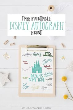 Free Printable Walt Disney World Autograph Print - Great alternative to use for character autographs