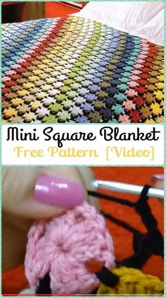 Crochet Mini Square Blanket (Free Pattern) | Crochet Rainbow Blanket Free Patterns (5) w/ links