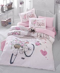 Bekata Paris Cotton Double-Full/Queen Size Quilt/Duvet Cover Set, Eiffel Tower Themed Paris Bedding Linens Reversible, PCS) *** Check this awesome product by going to the link at the image. (This is an affiliate link) Paris Room Decor, Paris Rooms, Paris Bedroom, 100 Cotton Duvet Covers, Bed Duvet Covers, Duvet Cover Sets, Paris Bedding, Pink Bedding, Bedroom Themes