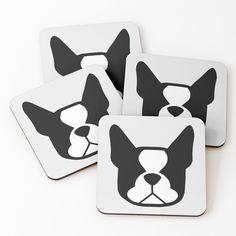 """""""Boston Terrier face in black and white - bold Boston silhouette - copyright Smooshface United - Boston Terrier gift"""" Coasters (Set of 4) by smooshfaceutd 