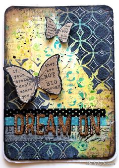 Made by Sannie: Recycle Dream on Card with video tutorial - - It's recycling week Monday Challenge. Lots of fun! Atc Cards, Card Tags, Art Projects, Projects To Try, Art Therapy Activities, Art Journal Pages, Art Journals, Scrapbooking, Artist Trading Cards