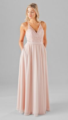 Mix and match your bridesmaids in these embroidered lace bridesmaid dresses that feature flowing chiffon skirts that your girls will love! | Kennedy Blue Iris