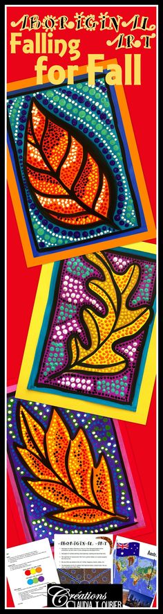 Fall has arrived! Why not highlight it with an Aboriginal Art project? The Aboriginal people often paint kangaroos, snakes, lizards and lots of symbols. Our theme will be a Fall Leaf.  This is a great way to work with warm and cool colours.  This very complete project helps you to initiate your students into Aboriginal Art. The students will be proud of all of their dots and surprised at their results.