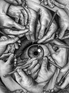 Drawing by an unknown in the style of MC Escher (the extended note on post was interesting, re the style differences between Escher & the actual artist). Art And Illustration, Art Illustrations, Cool Drawings, Drawing Sketches, Pencil Drawings, Pencil Sketching, Amazing Drawings, Pencil Art, Eye Sketch