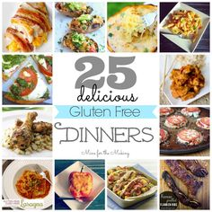 Gluten- free, but not all dairy-free. Food-a-licious Friday: 25 Delicious Gluten Free Dinners - Mine for the Making Gluten Free Recipes For Dinner, Foods With Gluten, Gluten Free Cooking, Gluten Free Desserts, Dairy Free Recipes, Gf Recipes, Vegan Gluten Free, Healthy Recipes, Dinner Recipes