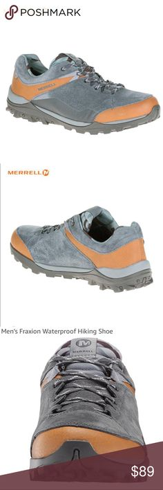 MERRELL Fraxion Waterproof Leather Hiking Shoes NWT MERRELL Fraxion Waterproof Leather Hiking Shoes, Brand New In Box (Never Worn) with Price Tag Retail $109.99  Brown Sugar Cassonade Size (9 M) Men's  *** Details and Product Information Posted Above In Photos Section Merrell Shoes