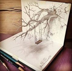 art, drawing, and tree image - Awful Tree
