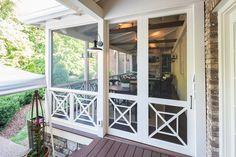 Porch Sliding Doors, Screened Porch Doors, Sliding Door Window Treatments, Porch Windows, Front Porch, Barn Doors, Back Porch Designs, Screened Porch Designs, Porch Railing Designs
