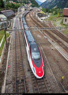 SBB ETR 610 at Göschenen, Switzerland Train Tracks, Train Rides, Winterthur, Zermatt, House Roof Design, Japan Train, Third Rail, Metro Rail, Commuter Train