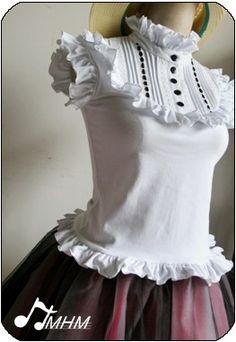 Victoria Style White Ruffles Blouse $51.99-Girls Cotton Shirts - My Lolita Dress