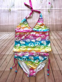 Multicolored peace sign bikini
