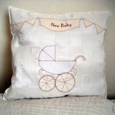 Heirloom Designer Personalised Cushion - Christening, New Baby, Baby Shower Personalized Baby Gifts, Handmade Gifts, Vintage Pram, Personalised Cushions, Baby Shower Supplies, Baby Prams, Christening, Hand Embroidery, Baby Shower Gifts
