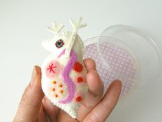 Giant Daphnia Brooch (pink) by hine, via Flickr
