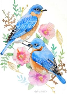 ooak Original Blue Bird Watercolor 5 x 7 Bird by asho on Etsy, $11.00