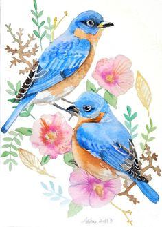ooak Original Blue Bird Watercolor 5 x 7 Bird by asho on Etsy, $11.00