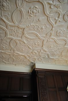 Plaster Ceiling Detail -- another Tudor pattern with Tudor roses as well Vintage Wallpaper Patterns, Pattern Wallpaper, Victorian Interiors, Victorian Homes, Modern Victorian, Ceiling Decor, Ceiling Design, Architecture Details, Interior Architecture