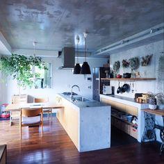 neru0414さんの、Kitchen,観葉植物,キッチン,キセログラフィカ,コンクリート打ちっ放し,コンクリートキッチン,ベストショットについての部屋写真