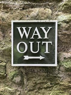 Smart exit sign at Jedburgh Abbey, Scotland Exit Sign, Leaves, Signs, Artwork, Work Of Art, Auguste Rodin Artwork, Shop Signs, Sign, Signage
