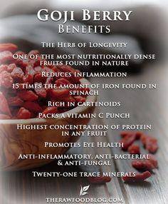 Goji Berry Benefits: Enjoy straight from the bag, or add to lunchboxes, oatmeal or muesli, smoothies, trail mix, salads, cake/biscuit/muffin batters, or steeped in tea. #Super Foods #Raw Foods