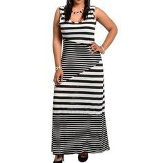 PD12 - 3XL Plus Size Beach Sleeveless Stripes Chevron Maxi Dress Black White 3XL