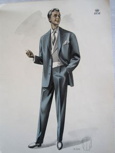 Vintage French Fabulous 1956 Mens Fashion Print From a Gents Outfitters Catalogue  by VintageFrenchFinds, $22.00