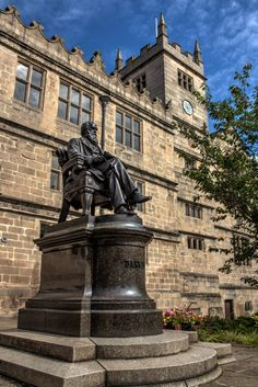 Charles Darwin was born and educated in Shrewsbury. His statue sits outside of the old Shrewsbury High School building, which is now the library