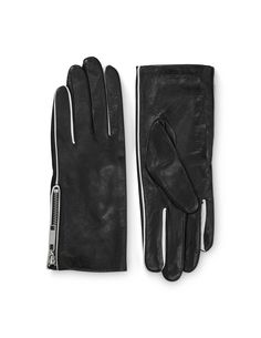 PISSARRO GLOVES - Women's gloves in nappa leather. Features zip detail and contrast coloured piping. Fleece lining at inside. Embossed Tiger of Sweden logo. Women's Gloves, Tiger Of Sweden, Contrast, Zip, Logo, Detail, Leather, Logos