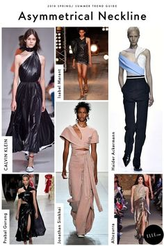 Spring 2018 Trend Report - ELLE.com's Comprehensive Guide To Spring 2018 Trends Asymmetrical Necklines   GETTY, IMAXTREE, COURTESY OF THE DESIGNER Seen at Altuzarra, Isabel Marant, and Prabal Gurung, this off-balanced silhouette dances along your shoulder, wraps around your neck, and twists around your collar bone. Simultaneously. Get ready for the asymmetrical neckline.