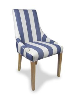 http://www.bonsoni.com/collabo-stripe-chair-pair-by-sherman  A fabulous design led chair offering flair to any room. It is also incredibly versatile - suitable as a dining chair - accent chair or boudoir chair. Seat is sprung and banded for additional comfort and support. The bold blue stripe exudes a striking - almost nautical vibe - which is sure to look stunning in any environment.  http://www.bonsoni.com/collabo-stripe-chair-pair-by-sherman