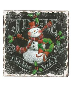found on #zulily! Chalkboard Snowman Tumbled Tile Trivet by CounterArt #zulilyfinds