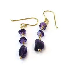 Amethyst Earrings Purple Jewelry Gold Filled by jewelrybycarmal Purple Jewelry, Purple Earrings, Amethyst Earrings, Gold Jewelry, Vintage Jewelry, Jewelry Accessories, Women Jewelry, Amethyst Birthstone, Bee Jewelry