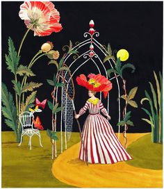 Limited edition giclee print by Harrison Howard of a personified flower lady at night with a butterfly net walking toward an arbor in a fantasy setting. Art World, Painting Inspiration, Collage Art, Design Elements, Fantasy Art, Illustration Art, Fine Art, Artsy, Wallpaper