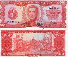 100 pesos Uruguay año 1967