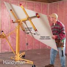 We've hung and patched our fair share of drywall. Check out this compilation of tips for working with drywall to make your next build or repair easier. Drywall Lift, Drywall Repair, Roof Repair, Hanging Drywall, Home Safety Tips, Drywall Installation, Plywood Sheets, Diy Home Repair, Picture Hangers