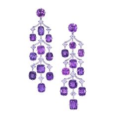 Moussaieff Jewellers Natural, Unheated Violet Sapphire and Diamond Cascade Earrings Gems Jewelry, High Jewelry, Crystal Jewelry, Jewelery, Sapphire Jewelry, Sapphire Earrings, Purple Sapphire, Sapphire Diamond, Diamond Chandelier Earrings