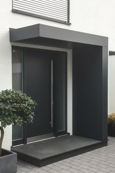 Entrance roofing / canopy for front doors from Siebau in L-shape. - Entrance roofing / canopy for front doors from Siebau in L-shape. Clad with facade panels - Modern Entrance Door, Front Door Entrance, House Entrance, Front Door Canopy, Beautiful Front Doors, Canopy Design, Door Design, Facade, Home
