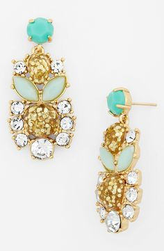 These are the best! Pretty mint and crystal chandelier earrings by Kate Spade.