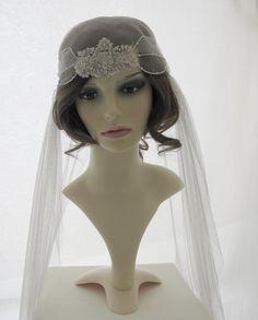 Couture bridal cap veil 1920s wedding  veil  by SarahMorganBridal, £185.00