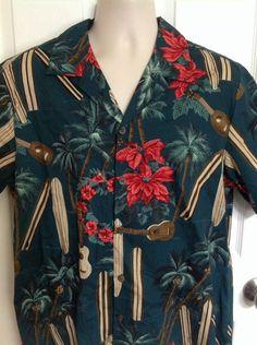 Bishop St Apparel Hawaiian Shirt Christmas Poinsettia Surfboard Ukelele Large L #BishopStApparel #Hawaiian