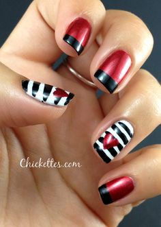 Red and black, white, red and black  | See more nail designs at http://www.nailsss.com/acrylic-nails-ideas/3/